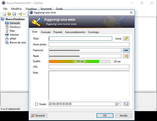 Creare una password con KeePass