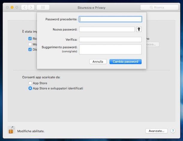 Come impostare password su Mac