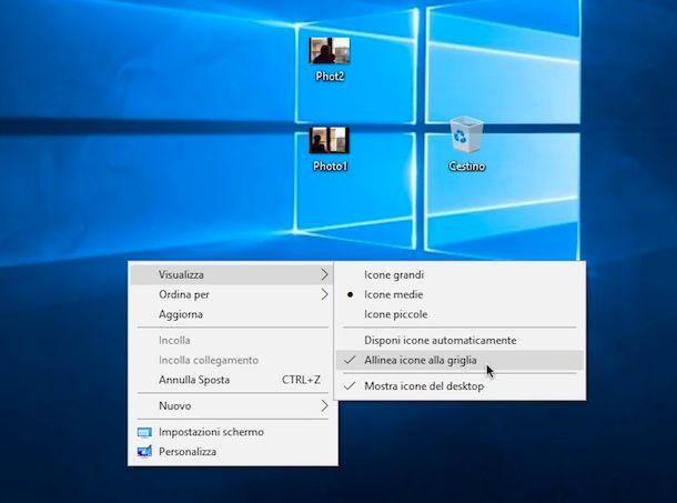 Come bloccare posizione icone su Desktop