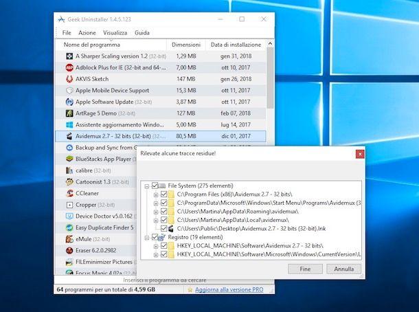 Come disinstallare un programma dal PC