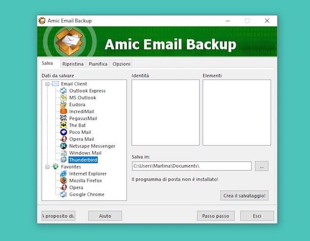 Come fare backup email