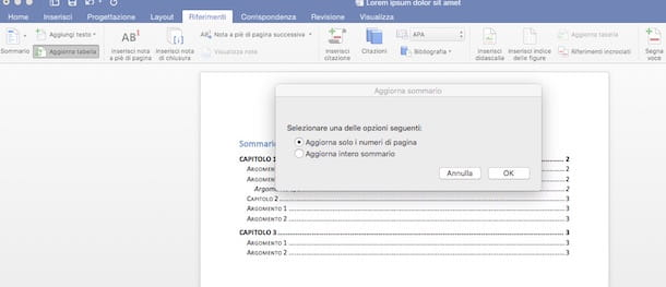 Come fare sommario in Word