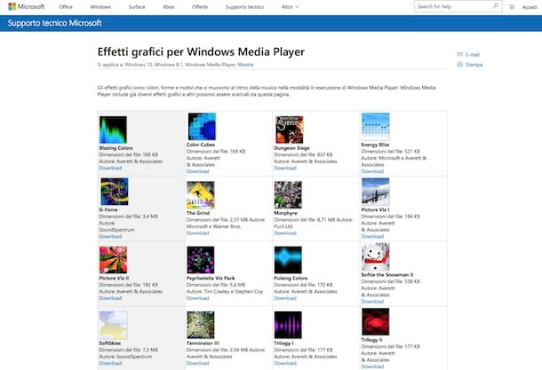Effetti grafici per Windows Media Player: scaricali gratis