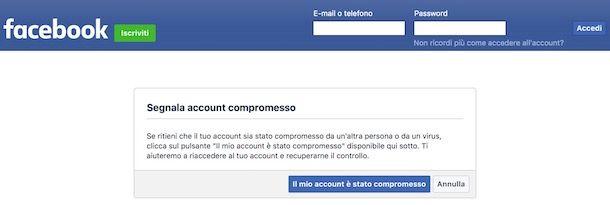 Pagina per recuperare l'account Facebook compromesso
