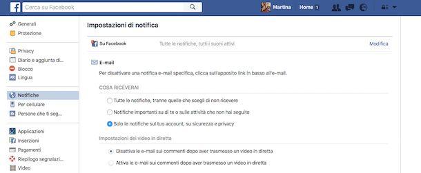 Come eliminare le notifiche via email di Facebook