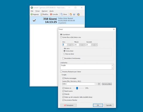 Programma conto alla rovescia per il desktop