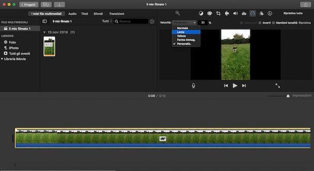 Rallentare un video con iMovie