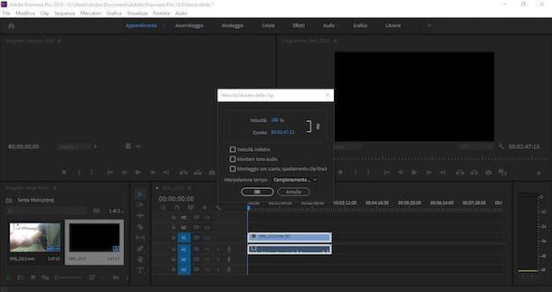 Rallentare un video con Premiere