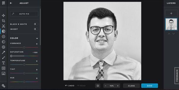 Immagine in bianco e nero con Pixlr