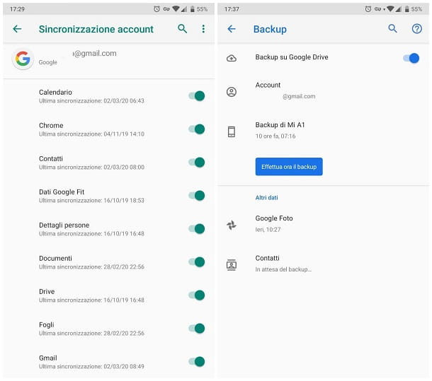 Come effettuare backup Android