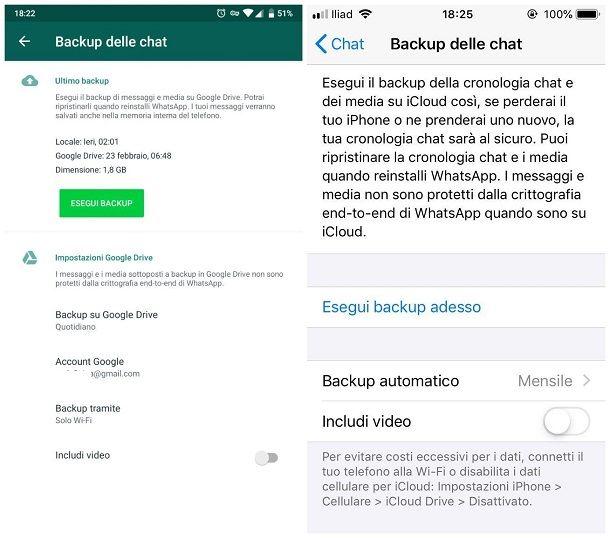Come effettuare backup chat WhatsApp
