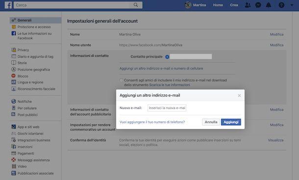 Cambio indirizzo email Facebook da Web