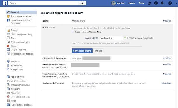 Cambio indirizzo account Facebook da computer