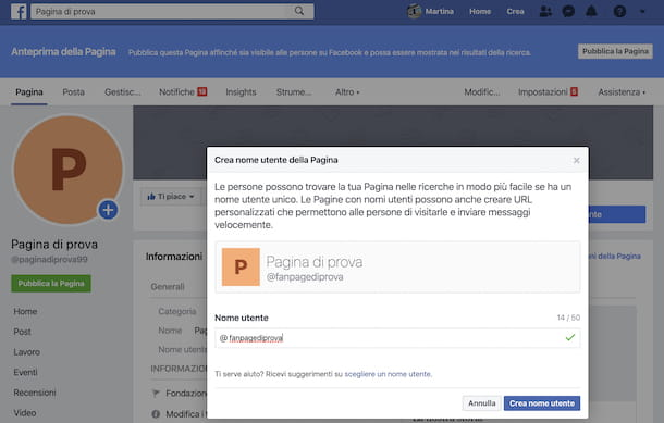Cambio indirizzo pagina Facebook da computer