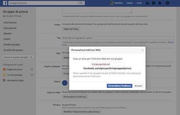 Cambio indirizzo gruppo Facebook da computer