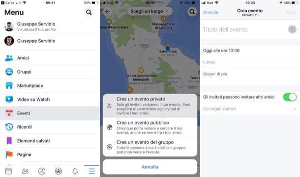 Creare eventi Facebook da smartphone e tablet