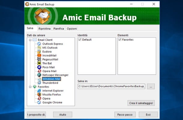 Backup email Windows