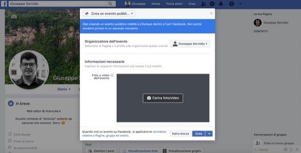 Creare evento Facebook da computer
