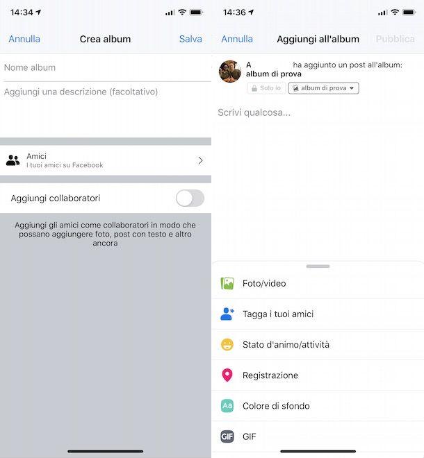 Come creare un nuovo album su Facebook dal cellulare