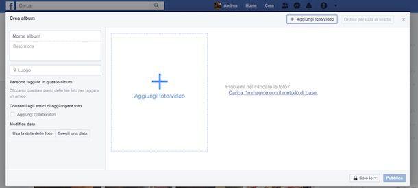 Come creare un album su Facebook da computer