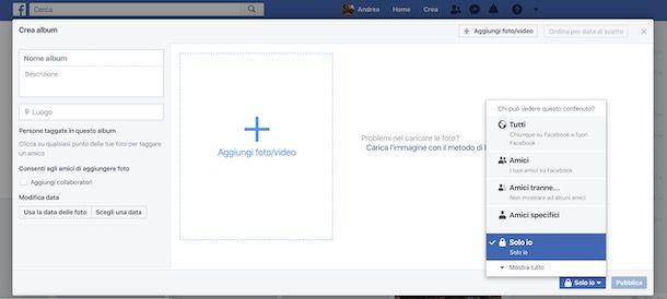 Modifica privacy album Facebook