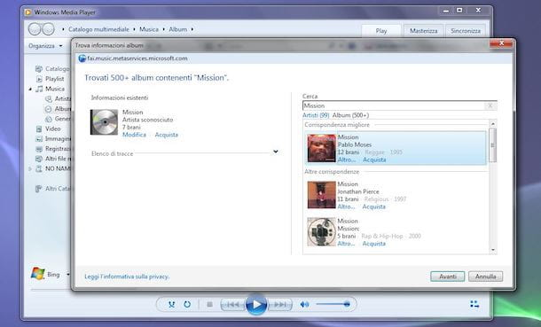 copertine album windows media player