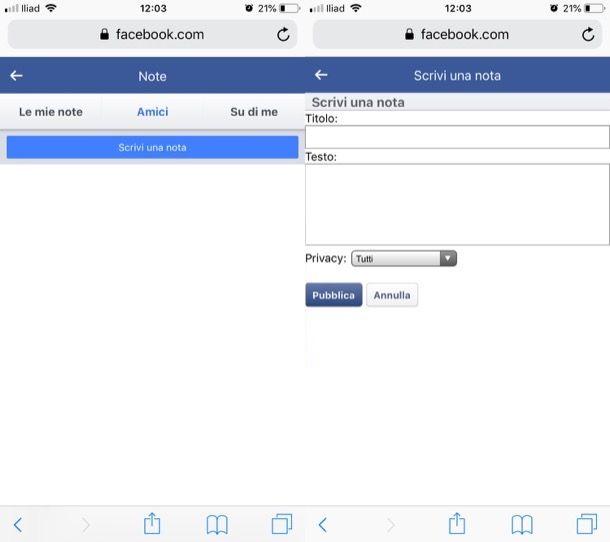 Creare note Facebook da mobile