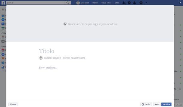 Scrivere una nota su Facebook da computer