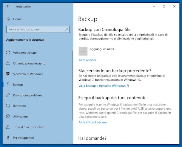 Come eseguire un backup del PC