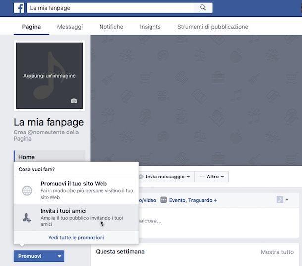 Come suggerire una pagina su Facebook