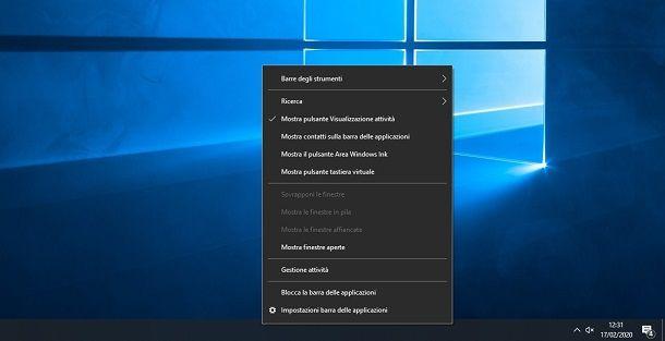 Barra delle applicazioni di Windows