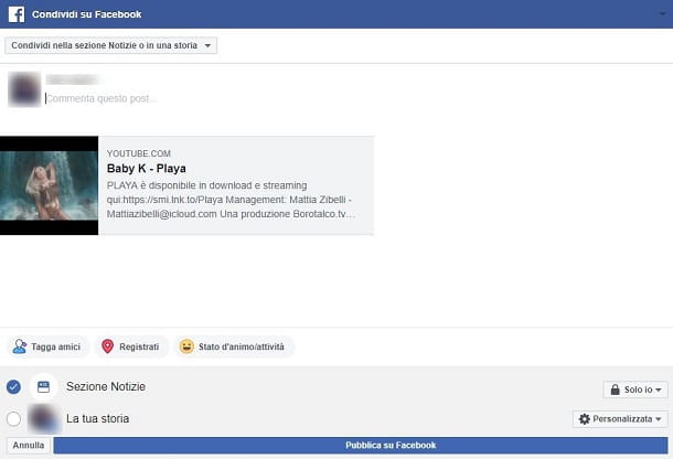 Come taggare un video YouTube su Facebook da PC