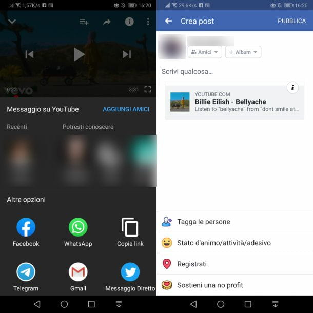 Come taggare un video YouTube su Facebook da smartphone