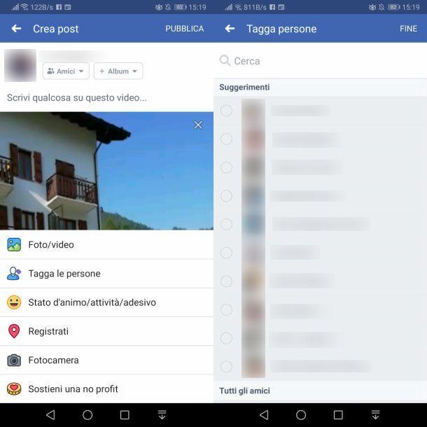 Come taggare un video su Facebook da smartphone