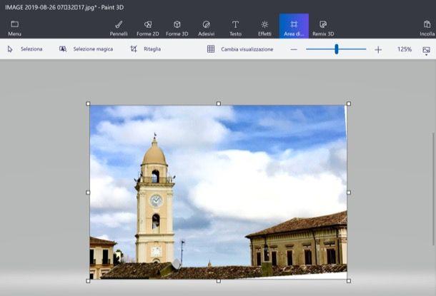 Tagliare foto con Paint 3D