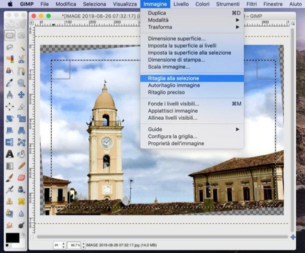 Ritaglia alla selezione di GIMP