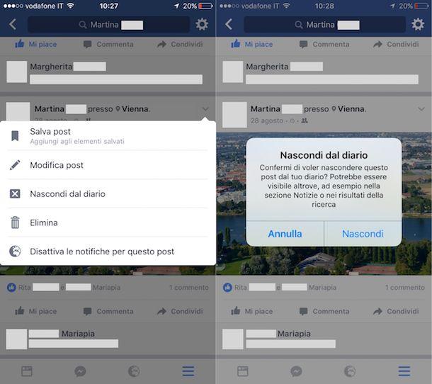 Come nascondere attività recenti Facebook