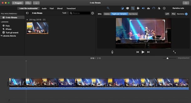 Come zoomare video con iMovie