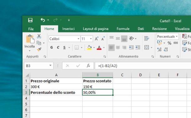 Come calcolare la percentuale in Excel