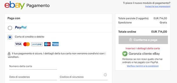 Acquistare su eBay con carta di credito