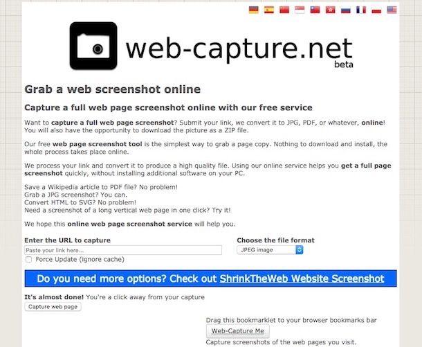 Come salvare una pagina Web come immagine