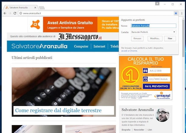 Come mostrare barra Preferiti Google Chrome