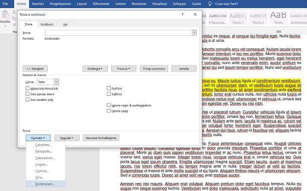 Come trovare testo evidenziato in Word