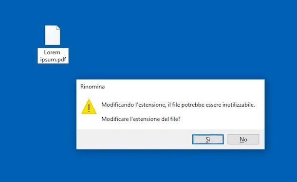Come cambiare estensione file