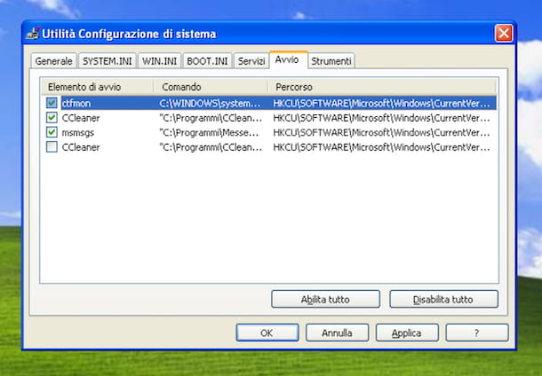 Utilità configurazione di sistema Windows XP