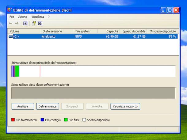 Utilità di deframmentazione dischi Windows XP