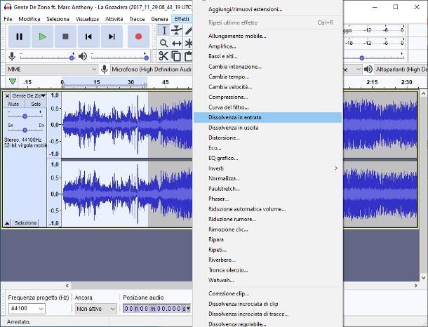 Come sfumare una canzone con Audacity