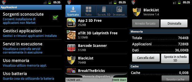 Applicazioni SD Android