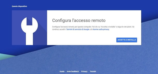 Configurazione Chrome Remote Desktop