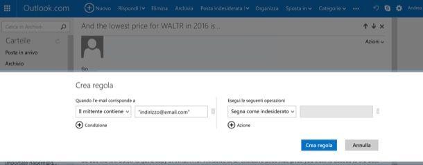 Come bloccare email da un indirizzo
